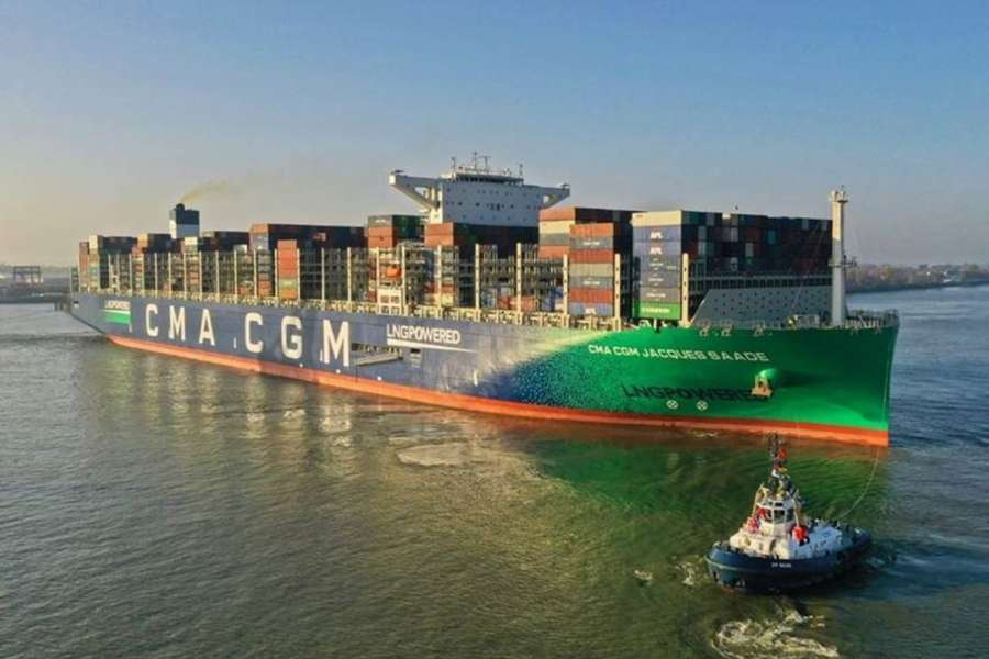 Die CMA CGM Jacques Saade lief am 8. November im Hamburger Hafen ein. (Foto: CMA CGM Group)