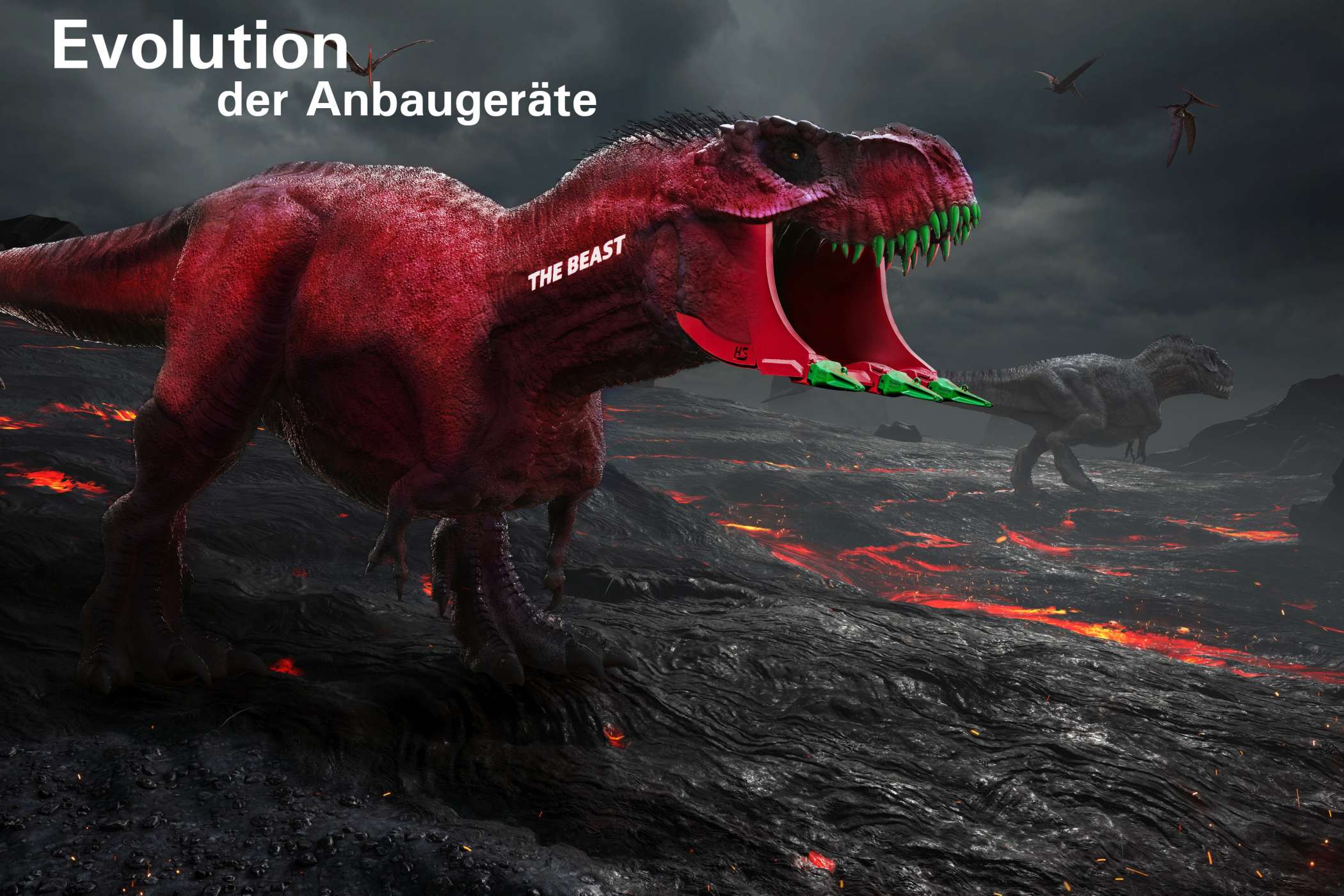 "Das Motto des Messestandes ""Evolution der Anbaugeräte - Meet the Beast!"" 