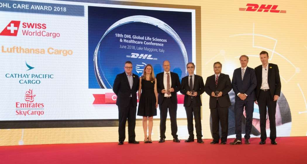Scott Allison, President, Life Sciences & Healthcare bei DHL, Nina Heinz, Global Head of Network & Quality, DHL Global Forwarding, Henrik Ambak, Emirates Sky Cargo, Ashwin Bhat, Swiss World Cargo, Thomas Egenolf, Lufthansa Cargo, Thomas George, CEO DHL Global Forwarding Europe, v.l. Foto: DHL