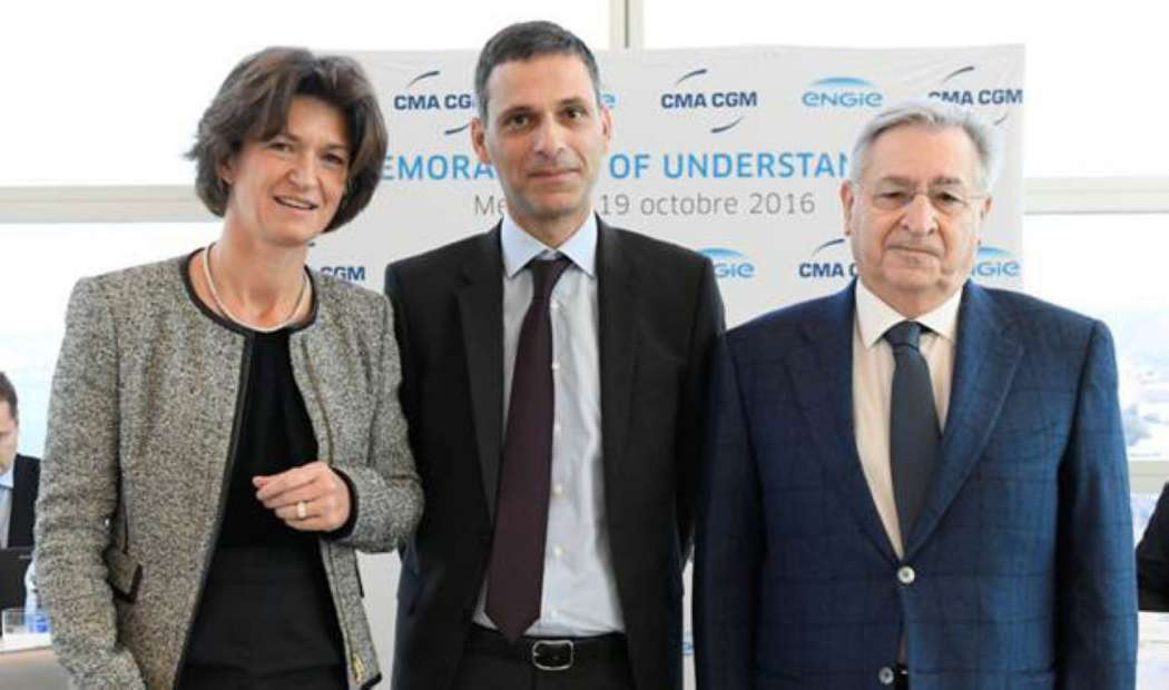 v.l.n.r.: Isabelle Kocher (CEO von Engie), Rodolphe Saadé (Vice President von CMA CGM) und Farid Salem (Executive Officer von CMA CGM) (Foto: Engie Group)